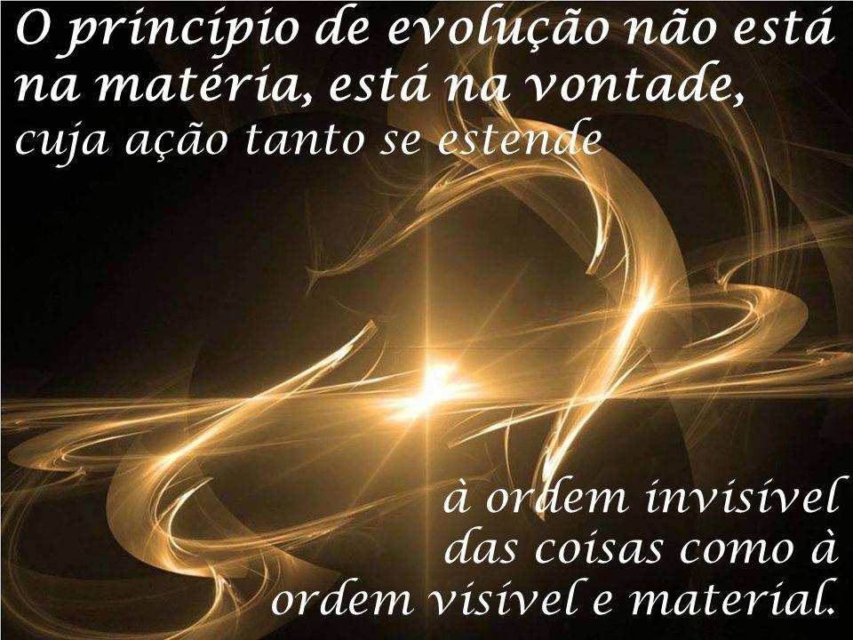 O princípio de evolução não está na matéria, está na vontade, cuja ação tanto se estende à ordem invisível das coisas como à ordem visível e material.