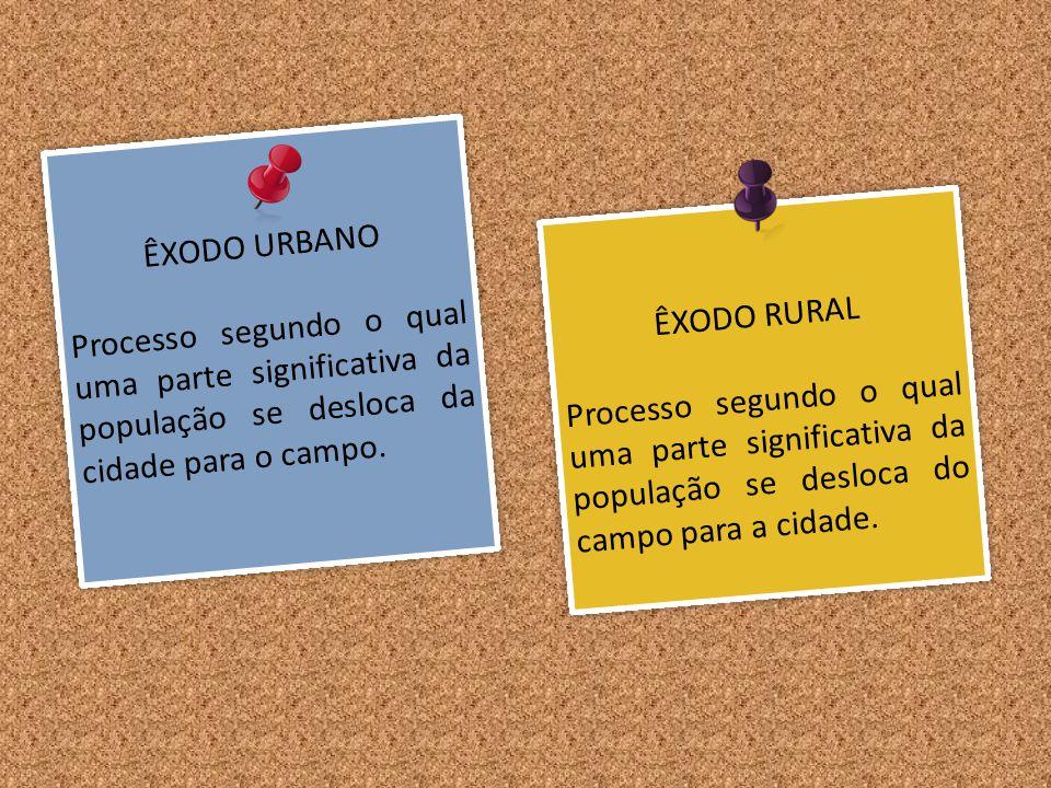 ÊXODO URBANO Processo segundo o qual uma parte significativa da população se desloca da cidade para o campo. ÊXODO URBANO Processo segundo o qual uma