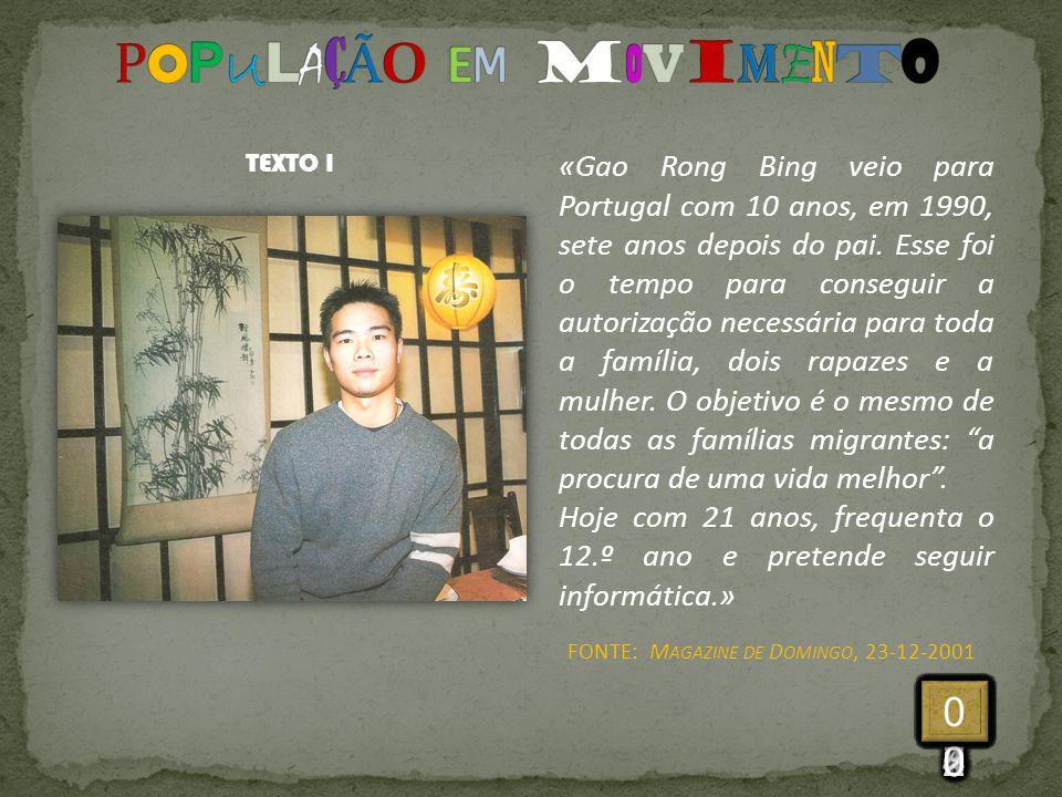 «Gao Rong Bing veio para Portugal com 10 anos, em 1990, sete anos depois do pai. Esse foi o tempo para conseguir a autorização necessária para toda a