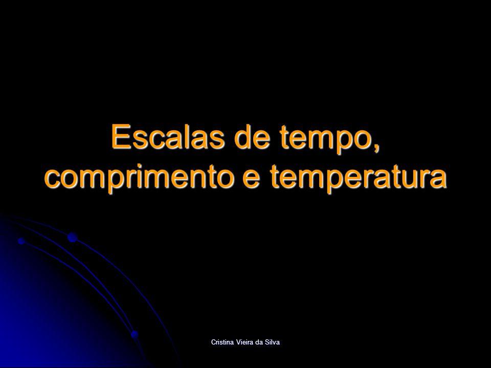 Cristina Vieira da Silva Escalas de tempo  Unidade SI de tempo é o segundo – s  1 ano = 365 dias 6 h = 365 x 24 x 3600 + 6 x 3600 s = 3,2 x 10 7 s  1 mês = 30 dias = 30 x 24 x 3600 s = 2,6 x 10 6 s Múltiplos  milisegundo: 1 ms = 10 -3 s  microsegundo: 1  s = 10 -6 s Submúltiplos