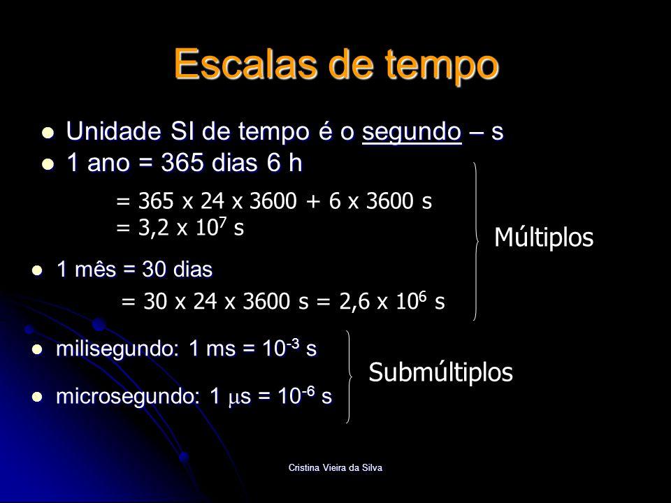Cristina Vieira da Silva Escalas de tempo  Unidade SI de tempo é o segundo – s  1 ano = 365 dias 6 h = 365 x 24 x 3600 + 6 x 3600 s = 3,2 x 10 7 s 