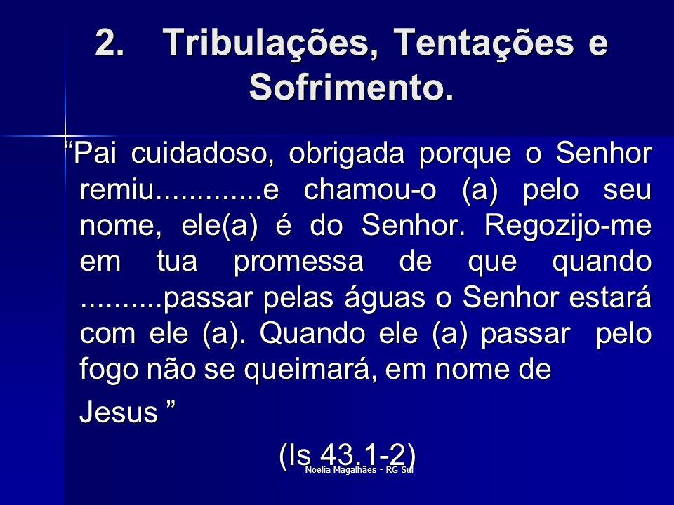 """2.Tribulações, Tentações e Sofrimento. """"Pai cuidadoso, obrigada porque o Senhor remiu.............e chamou-o (a) pelo seu nome, ele(a) é do Senhor. Re"""