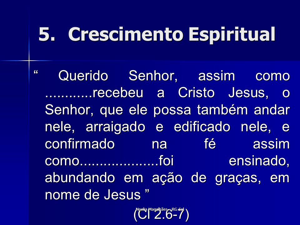 """5.Crescimento Espiritual """" Querido Senhor, assim como............recebeu a Cristo Jesus, o Senhor, que ele possa também andar nele, arraigado e edific"""