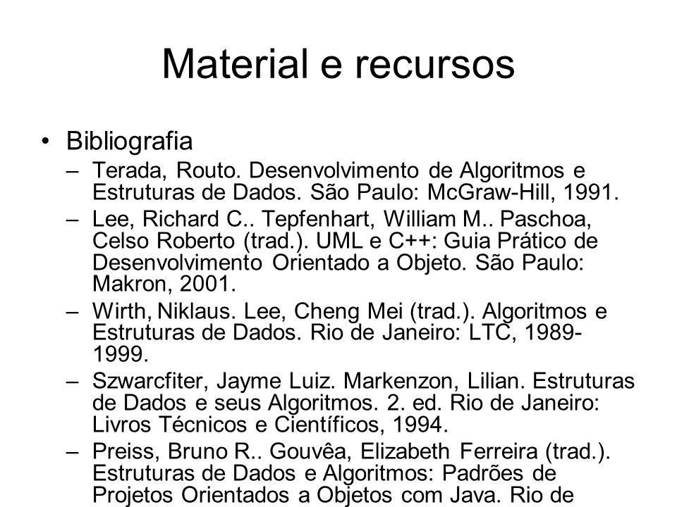 Material e recursos •Bibliografia –Terada, Routo.