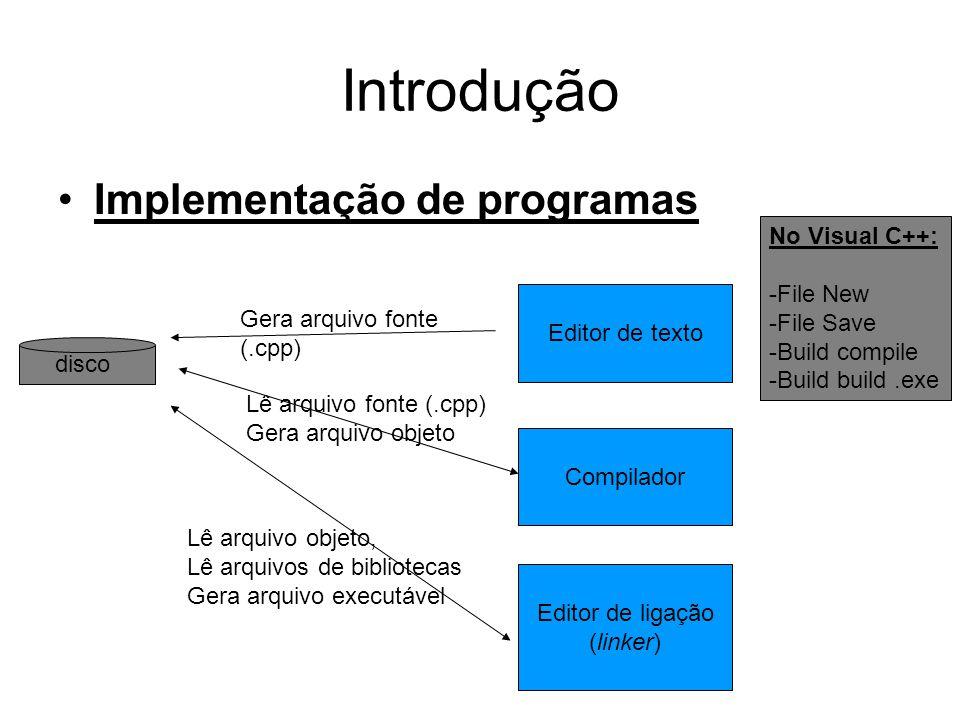 Introdução •Implementação de programas disco Editor de texto Gera arquivo fonte (.cpp) Compilador Lê arquivo fonte (.cpp) Gera arquivo objeto Editor de ligação (linker) Lê arquivo objeto, Lê arquivos de bibliotecas Gera arquivo executável No Visual C++: -File New -File Save -Build compile -Build build.exe