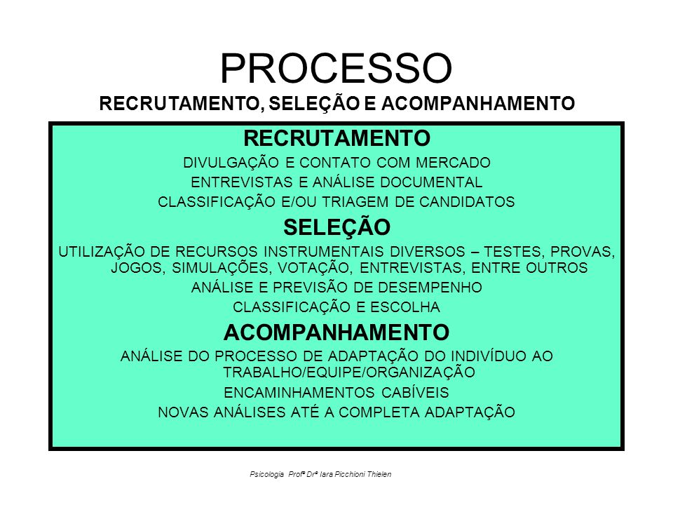PROCESSO RECRUTAMENTO, SELEÇÃO E ACOMPANHAMENTO RECRUTAMENTO DIVULGAÇÃO E CONTATO COM MERCADO ENTREVISTAS E ANÁLISE DOCUMENTAL CLASSIFICAÇÃO E/OU TRIAGEM DE CANDIDATOS SELEÇÃO UTILIZAÇÃO DE RECURSOS INSTRUMENTAIS DIVERSOS – TESTES, PROVAS, JOGOS, SIMULAÇÕES, VOTAÇÃO, ENTREVISTAS, ENTRE OUTROS ANÁLISE E PREVISÃO DE DESEMPENHO CLASSIFICAÇÃO E ESCOLHA ACOMPANHAMENTO ANÁLISE DO PROCESSO DE ADAPTAÇÃO DO INDIVÍDUO AO TRABALHO/EQUIPE/ORGANIZAÇÃO ENCAMINHAMENTOS CABÍVEIS NOVAS ANÁLISES ATÉ A COMPLETA ADAPTAÇÃO Psicologia Profª Drª Iara Picchioni Thielen