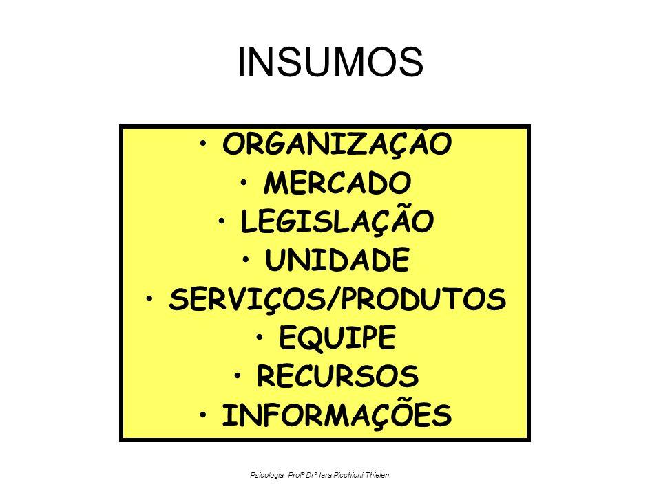 INSUMOS •ORGANIZAÇÃO •MERCADO •LEGISLAÇÃO •UNIDADE •SERVIÇOS/PRODUTOS •EQUIPE •RECURSOS •INFORMAÇÕES Psicologia Profª Drª Iara Picchioni Thielen