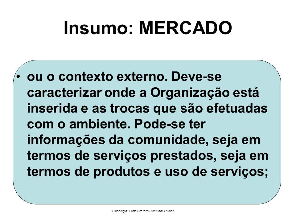Insumo: MERCADO •ou o contexto externo. Deve-se caracterizar onde a Organização está inserida e as trocas que são efetuadas com o ambiente. Pode-se te