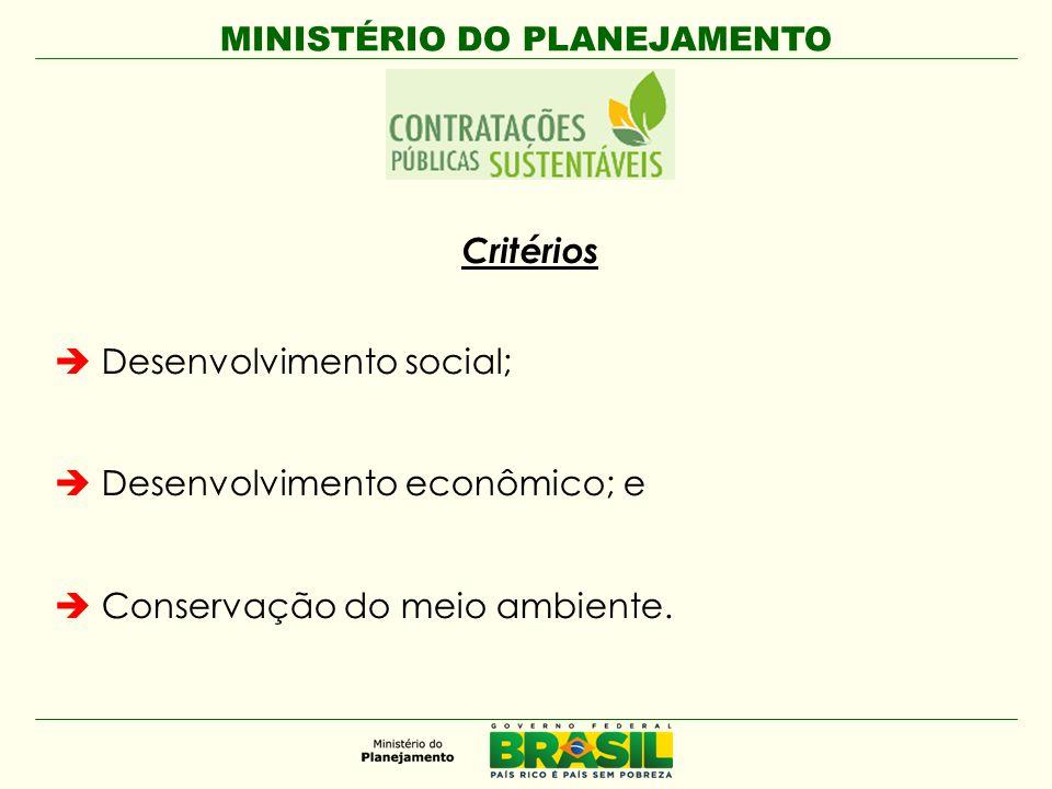 MINISTÉRIO DO PLANEJAMENTO Critérios  Desenvolvimento social;  Desenvolvimento econômico; e  Conservação do meio ambiente.