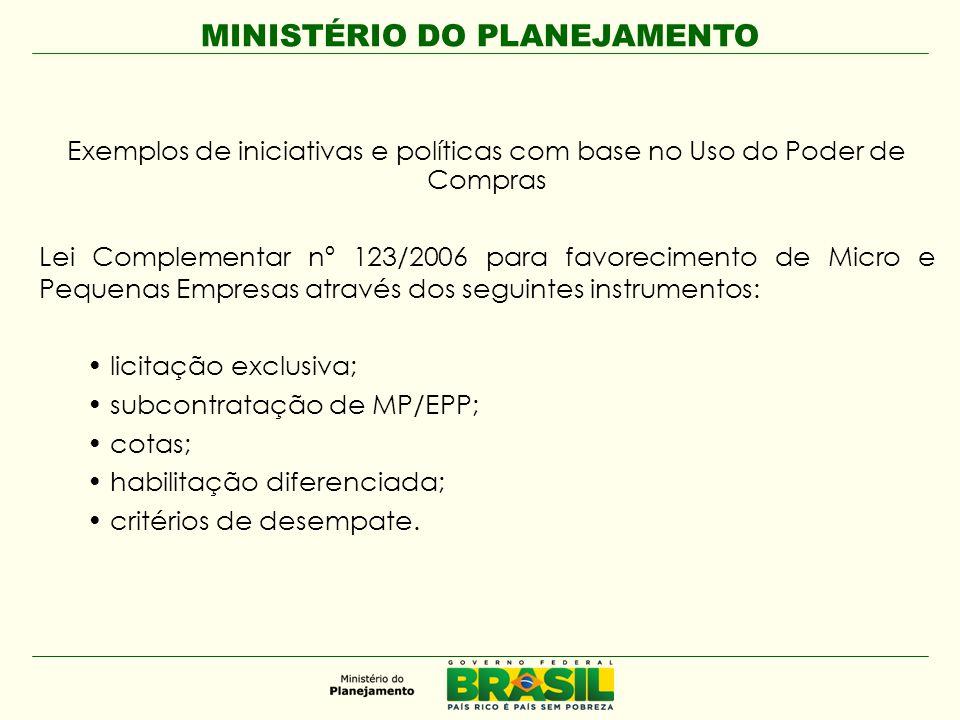 MINISTÉRIO DO PLANEJAMENTO Exemplos de iniciativas e políticas com base no Uso do Poder de Compras Lei Complementar nº 123/2006 para favorecimento de