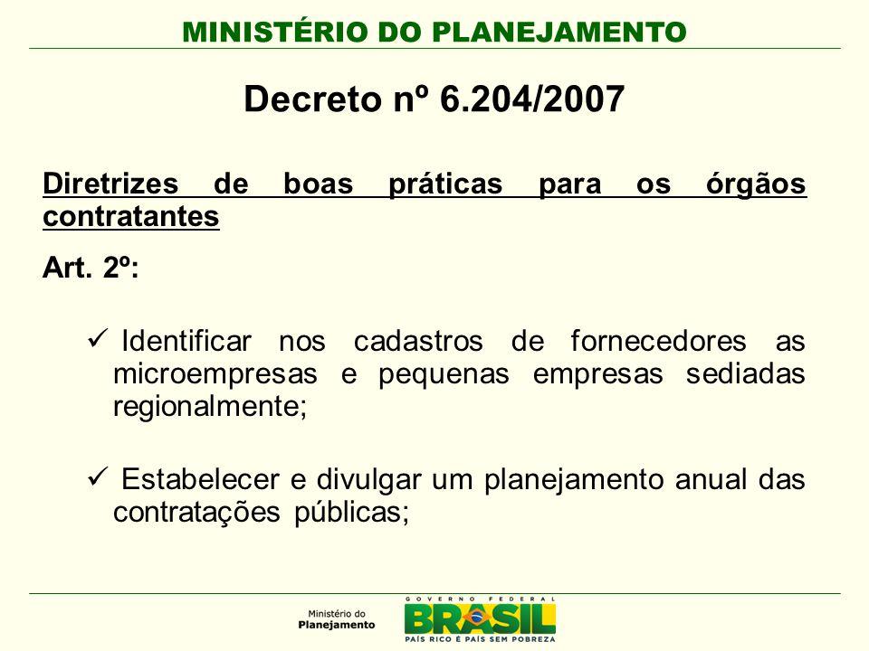 MINISTÉRIO DO PLANEJAMENTO Decreto nº 6.204/2007 Diretrizes de boas práticas para os órgãos contratantes Art. 2º:  Identificar nos cadastros de forne