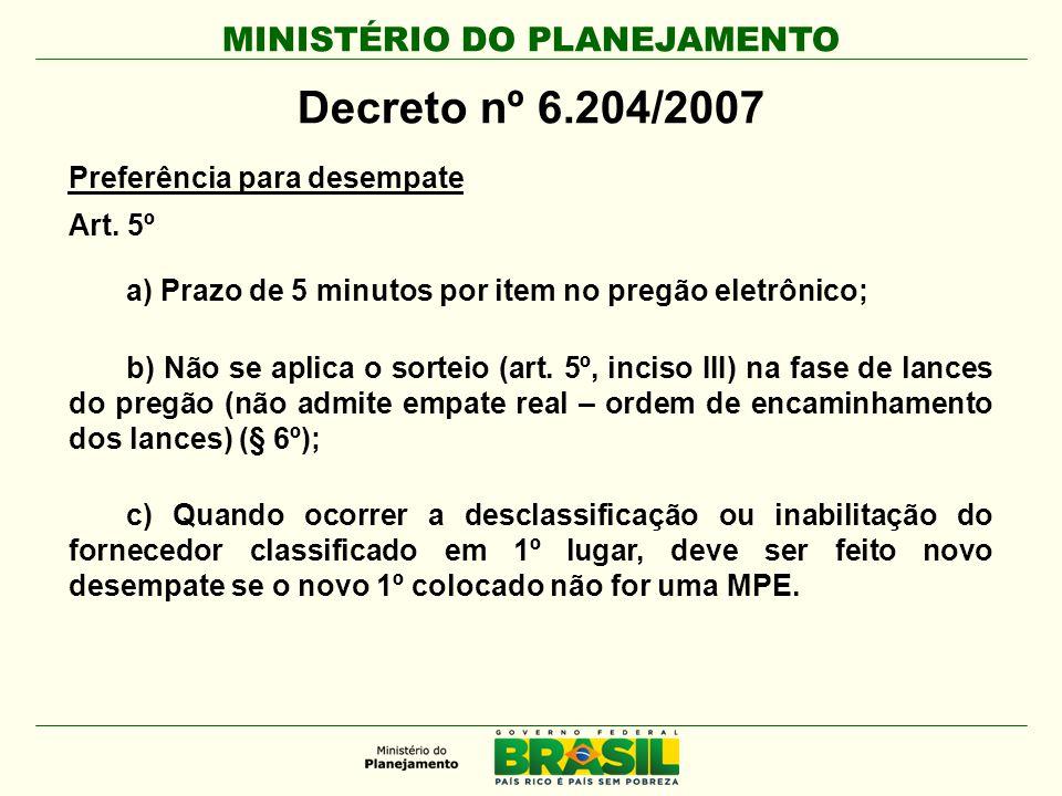 MINISTÉRIO DO PLANEJAMENTO Decreto nº 6.204/2007 Preferência para desempate Art. 5º a) Prazo de 5 minutos por item no pregão eletrônico; b) Não se apl