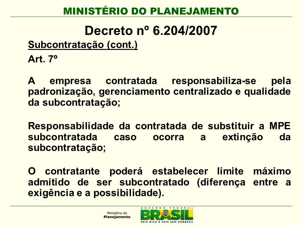 MINISTÉRIO DO PLANEJAMENTO Decreto nº 6.204/2007 Subcontratação (cont.) Art. 7º A empresa contratada responsabiliza-se pela padronização, gerenciament
