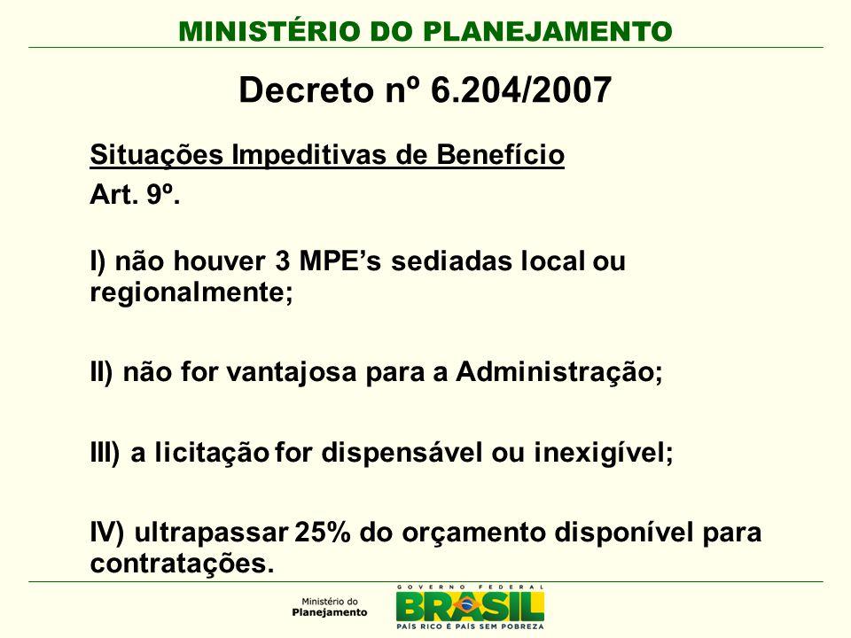 MINISTÉRIO DO PLANEJAMENTO Decreto nº 6.204/2007 Situações Impeditivas de Benefício Art. 9º. I) não houver 3 MPE's sediadas local ou regionalmente; II