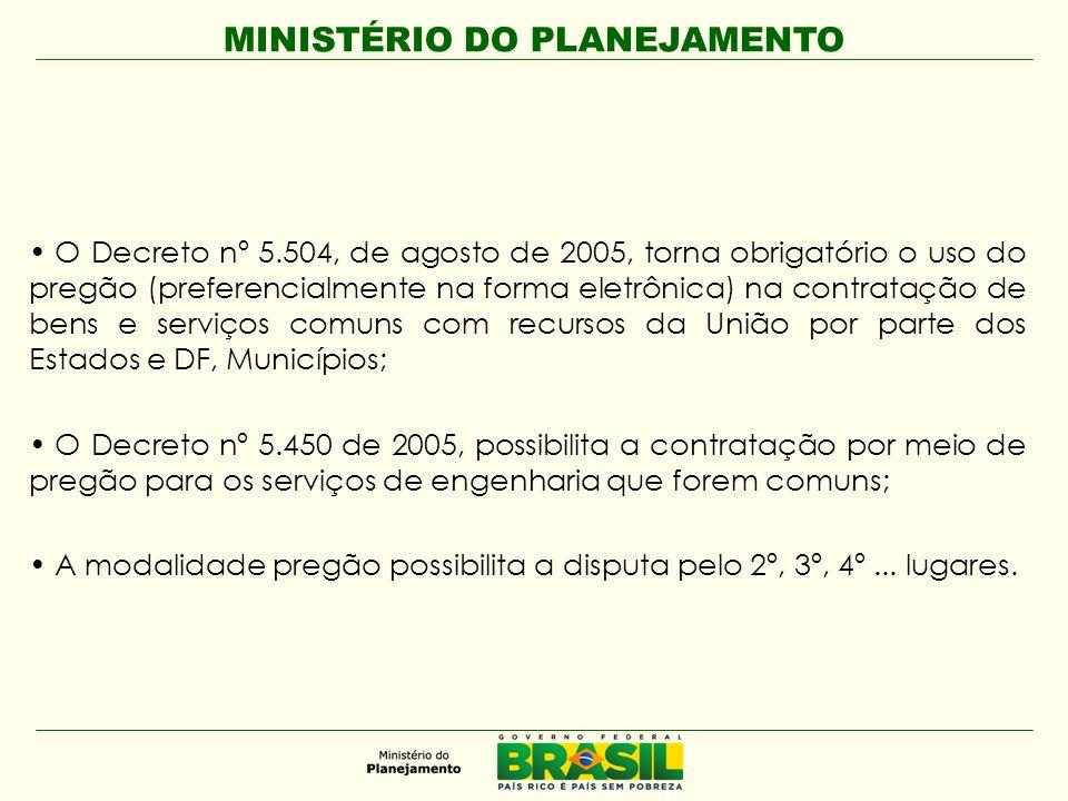 MINISTÉRIO DO PLANEJAMENTO • O Decreto nº 5.504, de agosto de 2005, torna obrigatório o uso do pregão (preferencialmente na forma eletrônica) na contr
