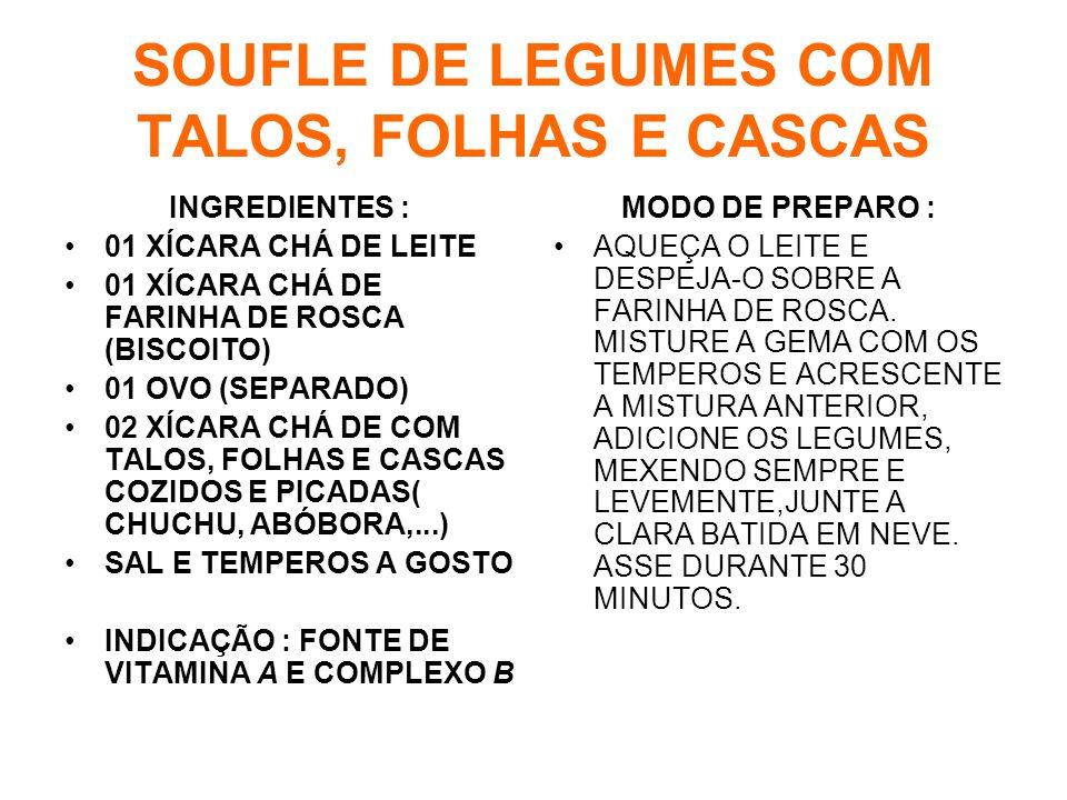 SOUFLE DE LEGUMES COM TALOS, FOLHAS E CASCAS INGREDIENTES : •01 XÍCARA CHÁ DE LEITE •01 XÍCARA CHÁ DE FARINHA DE ROSCA (BISCOITO) •01 OVO (SEPARADO) •02 XÍCARA CHÁ DE COM TALOS, FOLHAS E CASCAS COZIDOS E PICADAS( CHUCHU, ABÓBORA,...) •SAL E TEMPEROS A GOSTO •INDICAÇÃO : FONTE DE VITAMINA A E COMPLEXO B MODO DE PREPARO : •AQUEÇA O LEITE E DESPEJA-O SOBRE A FARINHA DE ROSCA.