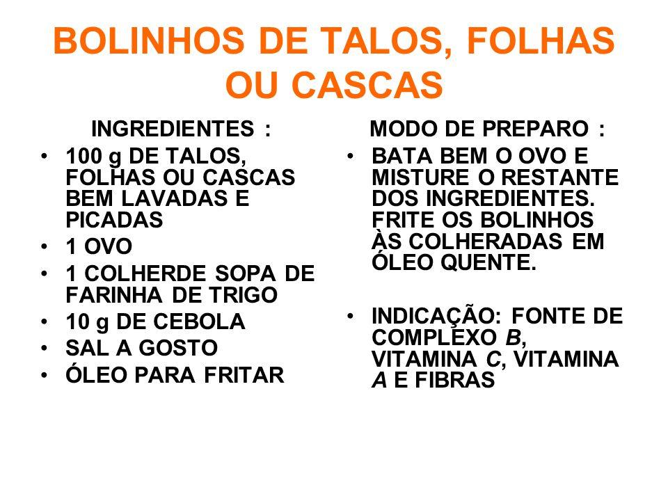 BOLINHOS DE TALOS, FOLHAS OU CASCAS INGREDIENTES : •100 g DE TALOS, FOLHAS OU CASCAS BEM LAVADAS E PICADAS •1 OVO •1 COLHERDE SOPA DE FARINHA DE TRIGO •10 g DE CEBOLA •SAL A GOSTO •ÓLEO PARA FRITAR MODO DE PREPARO : •BATA BEM O OVO E MISTURE O RESTANTE DOS INGREDIENTES.