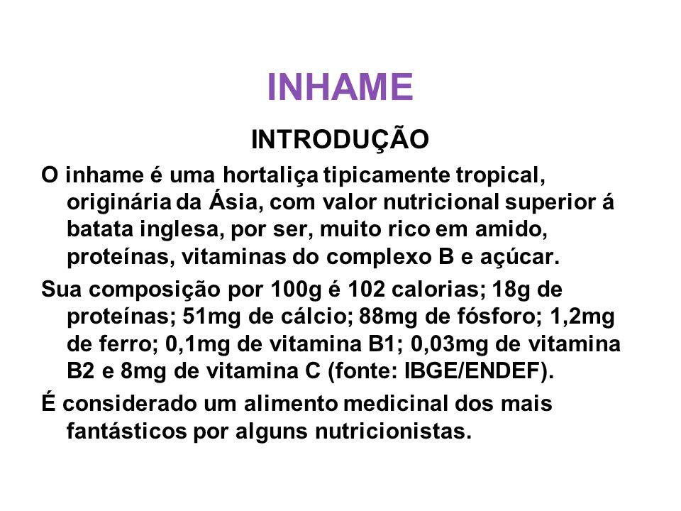 INHAME INTRODUÇÃO O inhame é uma hortaliça tipicamente tropical, originária da Ásia, com valor nutricional superior á batata inglesa, por ser, muito rico em amido, proteínas, vitaminas do complexo B e açúcar.
