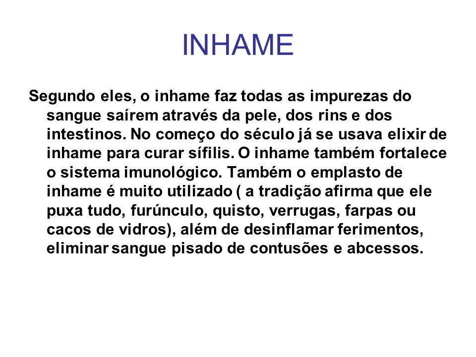 INHAME Segundo eles, o inhame faz todas as impurezas do sangue saírem através da pele, dos rins e dos intestinos. No começo do século já se usava elix