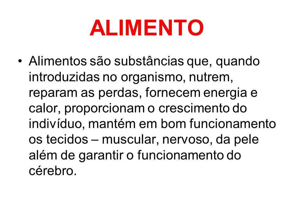 ALIMENTO •Alimentos são substâncias que, quando introduzidas no organismo, nutrem, reparam as perdas, fornecem energia e calor, proporcionam o crescim