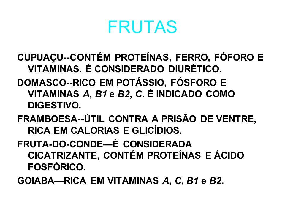 FRUTAS CUPUAÇU--CONTÉM PROTEÍNAS, FERRO, FÓFORO E VITAMINAS.