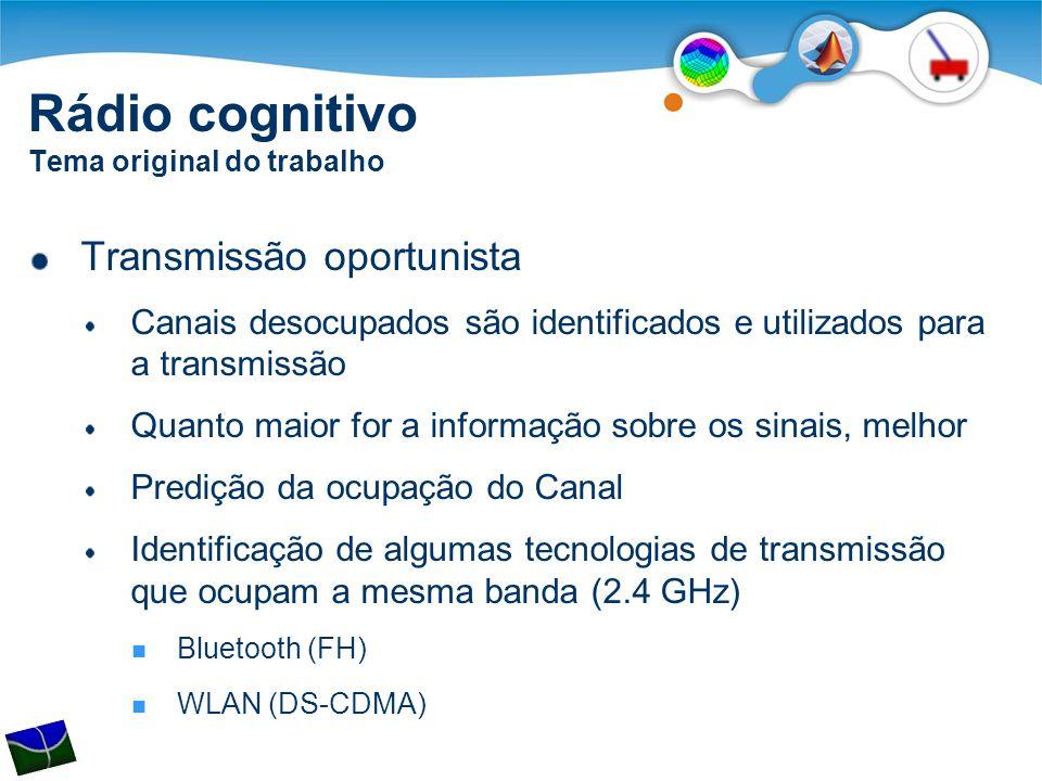 Rádio cognitivo Tema original do trabalho Transmissão oportunista Canais desocupados são identificados e utilizados para a transmissão Quanto maior fo