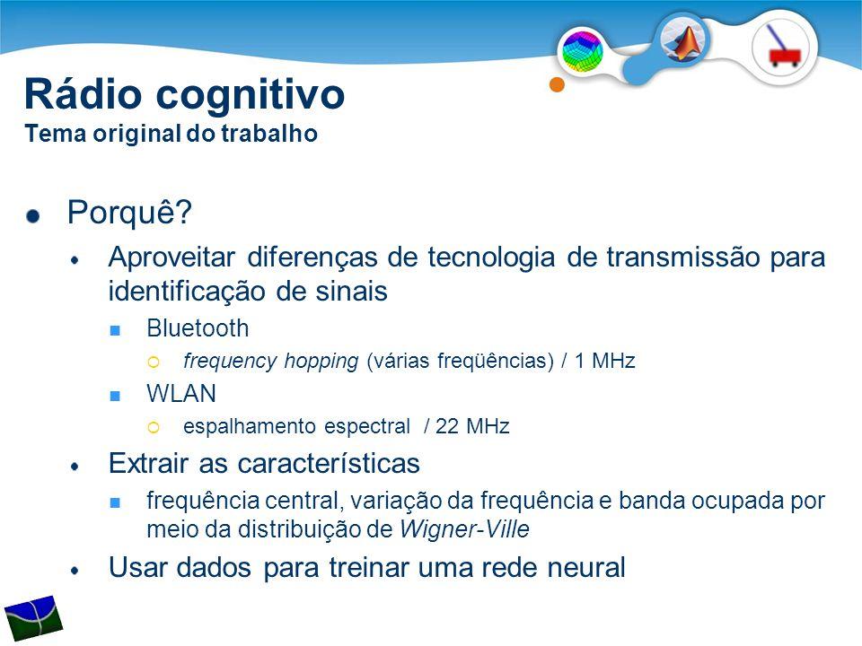 Porquê? Aproveitar diferenças de tecnologia de transmissão para identificação de sinais  Bluetooth  frequency hopping (várias freqüências) / 1 MHz 