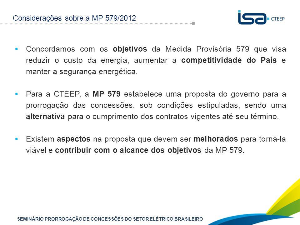 SEMINÁRIO PRORROGAÇÃO DE CONCESSÕES DO SETOR ELÉTRICO BRASILEIRO  Concordamos com os objetivos da Medida Provisória 579 que visa reduzir o custo da energia, aumentar a competitividade do País e manter a segurança energética.