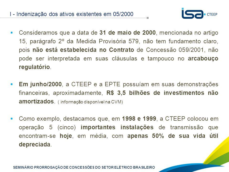 SEMINÁRIO PRORROGAÇÃO DE CONCESSÕES DO SETOR ELÉTRICO BRASILEIRO  Consideramos que a data de 31 de maio de 2000, mencionada no artigo 15, parágrafo 2º da Medida Provisória 579, não tem fundamento claro, pois não está estabelecida no Contrato de Concessão 059/2001, não pode ser interpretada em suas cláusulas e tampouco no arcabouço regulatório.