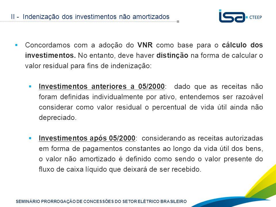 SEMINÁRIO PRORROGAÇÃO DE CONCESSÕES DO SETOR ELÉTRICO BRASILEIRO  Concordamos com a adoção do VNR como base para o cálculo dos investimentos. No enta