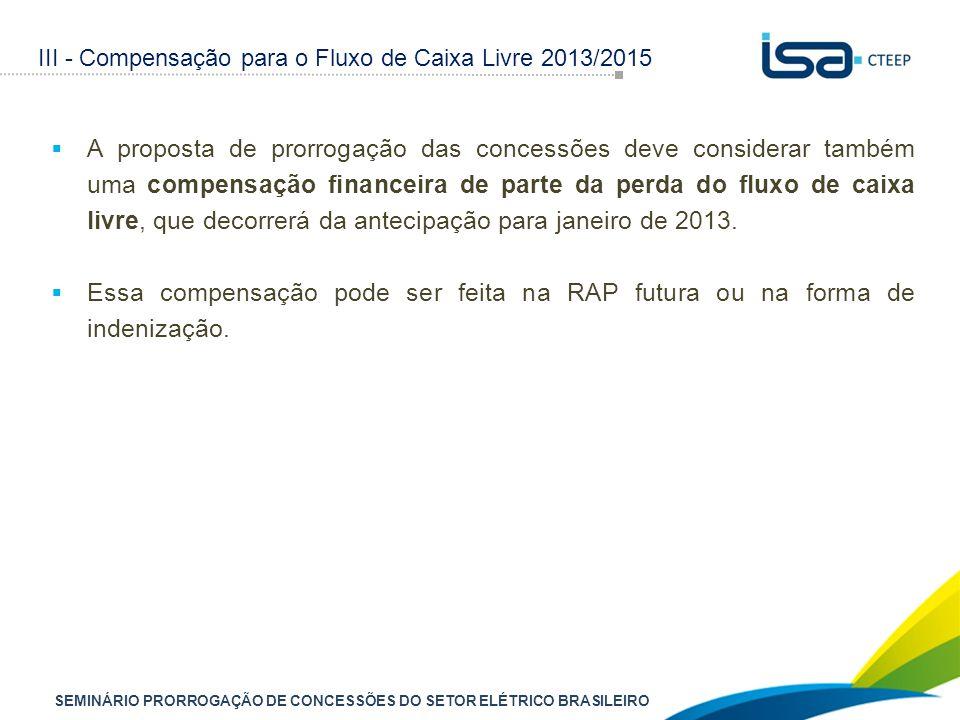 SEMINÁRIO PRORROGAÇÃO DE CONCESSÕES DO SETOR ELÉTRICO BRASILEIRO  A proposta de prorrogação das concessões deve considerar também uma compensação financeira de parte da perda do fluxo de caixa livre, que decorrerá da antecipação para janeiro de 2013.