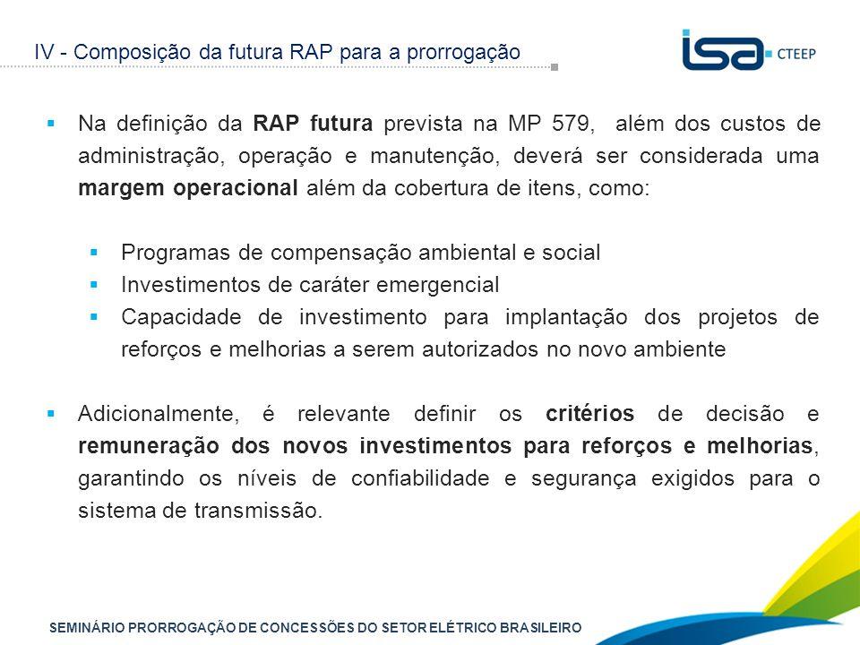 SEMINÁRIO PRORROGAÇÃO DE CONCESSÕES DO SETOR ELÉTRICO BRASILEIRO  Na definição da RAP futura prevista na MP 579, além dos custos de administração, op