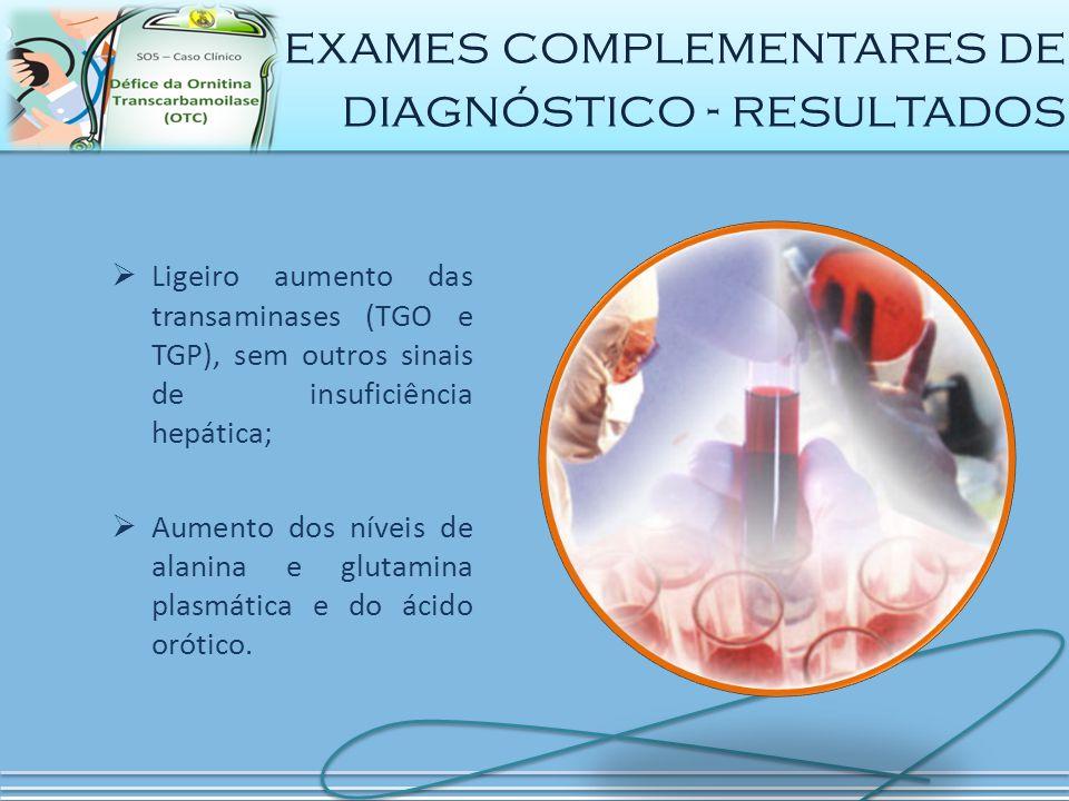  Ligeiro aumento das transaminases (TGO e TGP), sem outros sinais de insuficiência hepática;  Aumento dos níveis de alanina e glutamina plasmática e do ácido orótico.