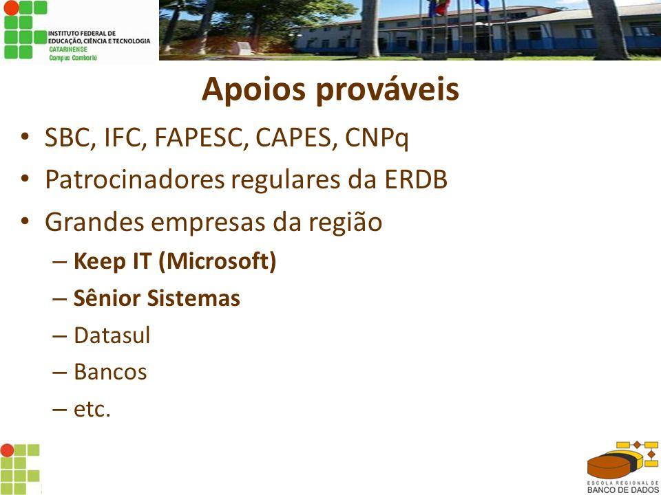 Apoios prováveis • SBC, IFC, FAPESC, CAPES, CNPq • Patrocinadores regulares da ERDB • Grandes empresas da região – Keep IT (Microsoft) – Sênior Sistemas – Datasul – Bancos – etc.