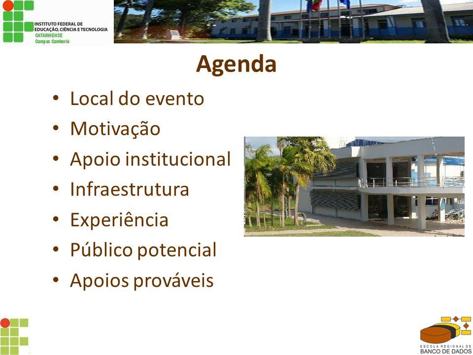 Agenda • Local do evento • Motivação • Apoio institucional • Infraestrutura • Experiência • Público potencial • Apoios prováveis