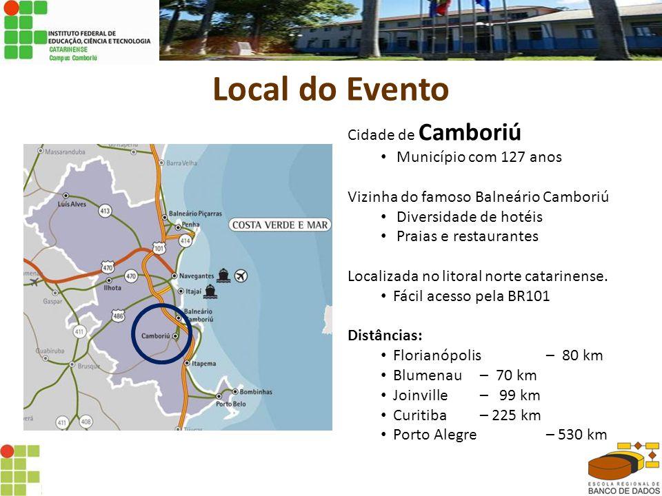 Local do Evento Cidade de Camboriú • Município com 127 anos Vizinha do famoso Balneário Camboriú • Diversidade de hotéis • Praias e restaurantes Localizada no litoral norte catarinense.