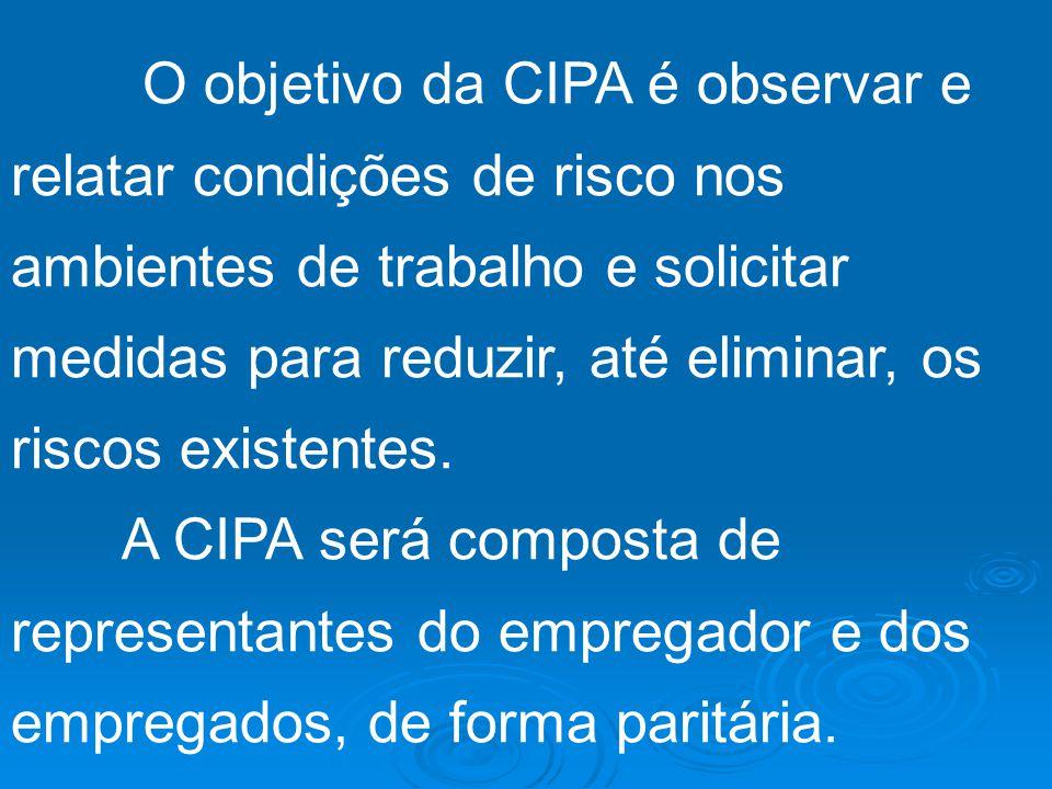 CIPA – COMISSÃO INTERNA DE PREVENÇÃO DE ACIDENTES As empresas privadas e públicas e os órgãos governamentais que possuam empregados regidos pela CLT f