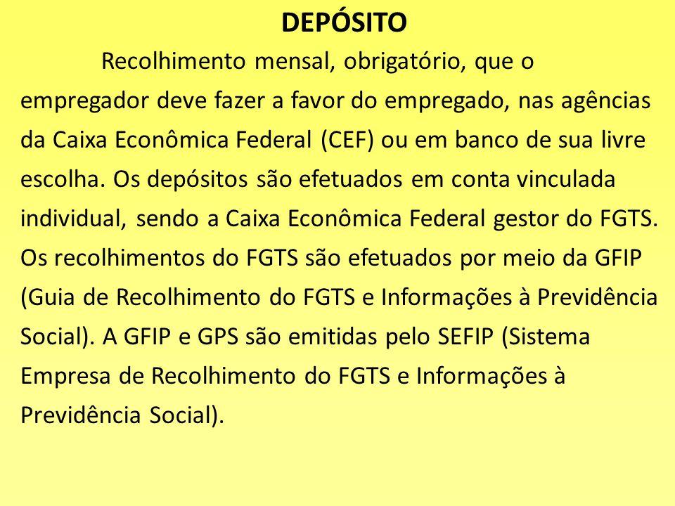 FGTS A criação do FGTS ocorreu com o objetivo de substituir a indenização e eliminar a estabilidade do empregado, que poderá ser demitido a qualquer t