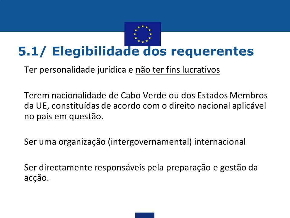 5.1/ Elegibilidade dos requerentes •Ter personalidade jurídica e não ter fins lucrativos •Terem nacionalidade de Cabo Verde ou dos Estados Membros da