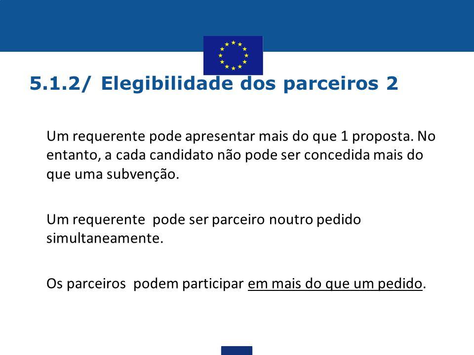 5.1.2/ Elegibilidade dos parceiros 2 •Um requerente pode apresentar mais do que 1 proposta. No entanto, a cada candidato não pode ser concedida mais d