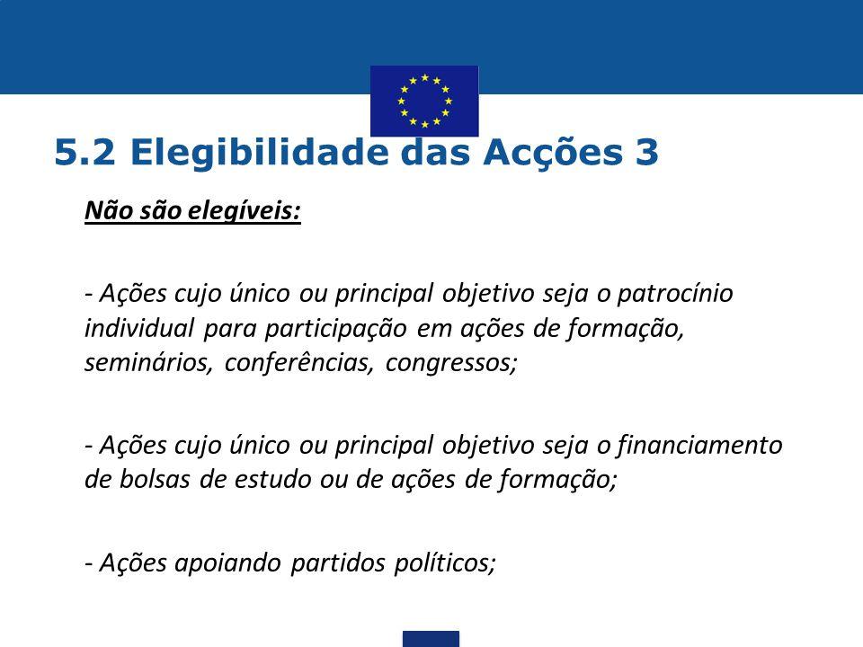 5.2 Elegibilidade das Acções 3 •Não são elegíveis: •- Ações cujo único ou principal objetivo seja o patrocínio individual para participação em ações d