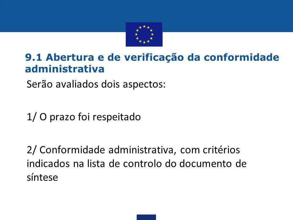 9.1 Abertura e de verificação da conformidade administrativa •Serão avaliados dois aspectos: 1/ O prazo foi respeitado 2/ Conformidade administrativa,