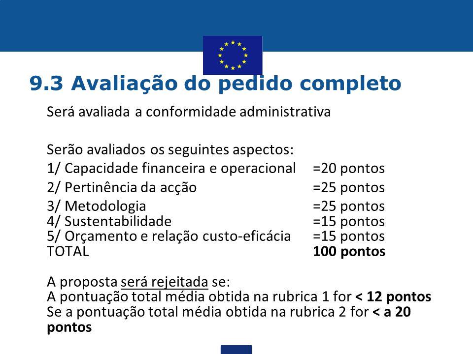 9.3 Avaliação do pedido completo •Será avaliada a conformidade administrativa Serão avaliados os seguintes aspectos: 1/ Capacidade financeira e operac