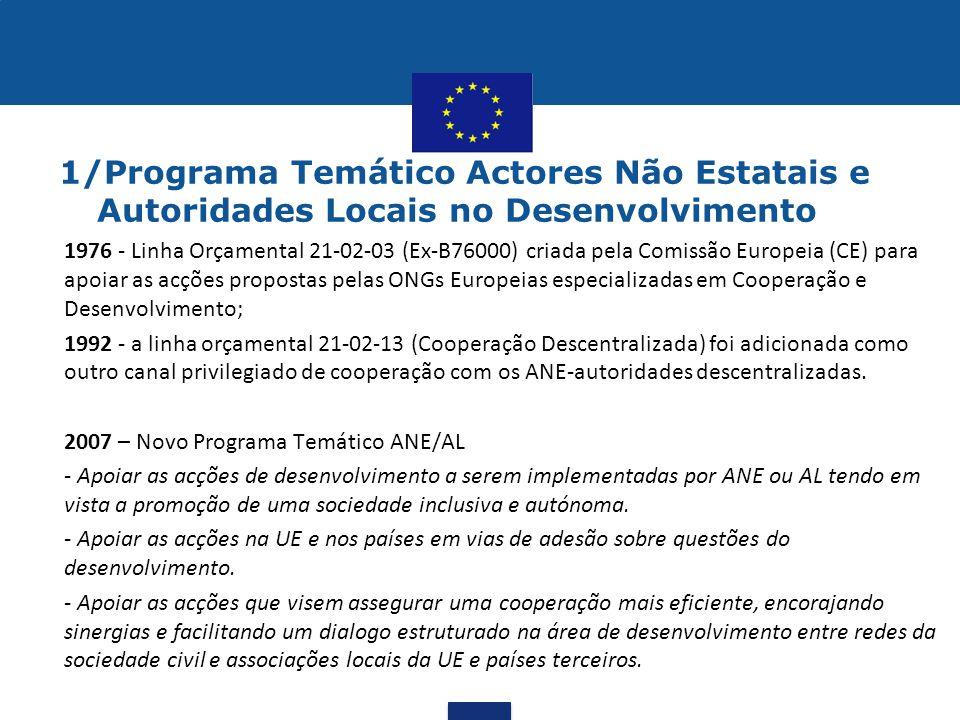 1/Programa Temático Actores Não Estatais e Autoridades Locais no Desenvolvimento •1976 - Linha Orçamental 21-02-03 (Ex-B76000) criada pela Comissão Eu