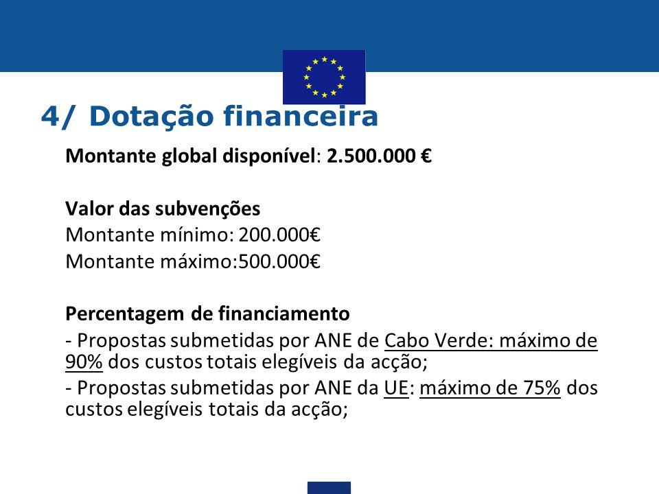 4/ Dotação financeira •Montante global disponível: 2.500.000 € •Valor das subvenções •Montante mínimo:200.000€ •Montante máximo:500.000€ •Percentagem