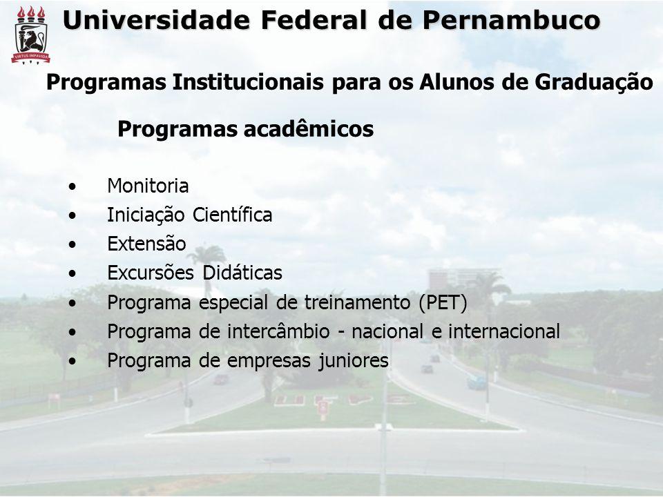 Universidade Federal de Pernambuco • Monitoria • Iniciação Científica • Extensão • Excursões Didáticas • Programa especial de treinamento (PET) • Prog