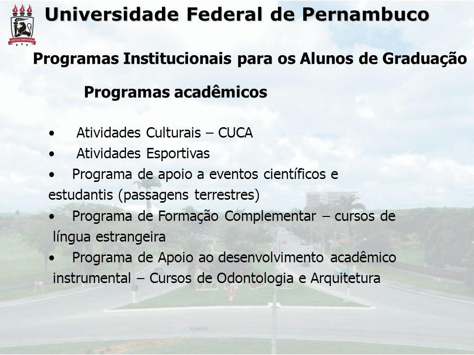 Universidade Federal de Pernambuco • Atividades Culturais – CUCA • Atividades Esportivas •Programa de apoio a eventos científicos e estudantis (passag