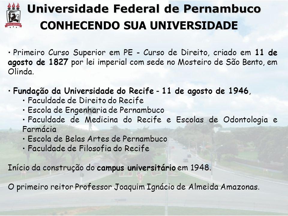 Universidade Federal de Pernambuco CONHECENDO SUA UNIVERSIDADE • Primeiro Curso Superior em PE - Curso de Direito, criado em 11 de agosto de 1827 por