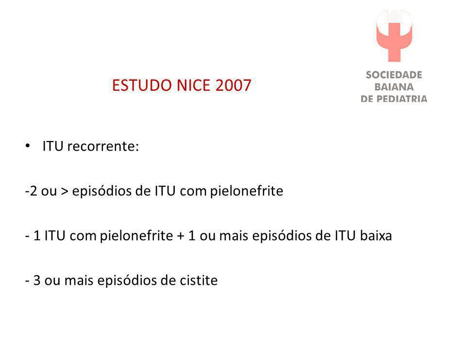 ESTUDO NICE 2007 • ITU recorrente: -2 ou > episódios de ITU com pielonefrite - 1 ITU com pielonefrite + 1 ou mais episódios de ITU baixa - 3 ou mais e