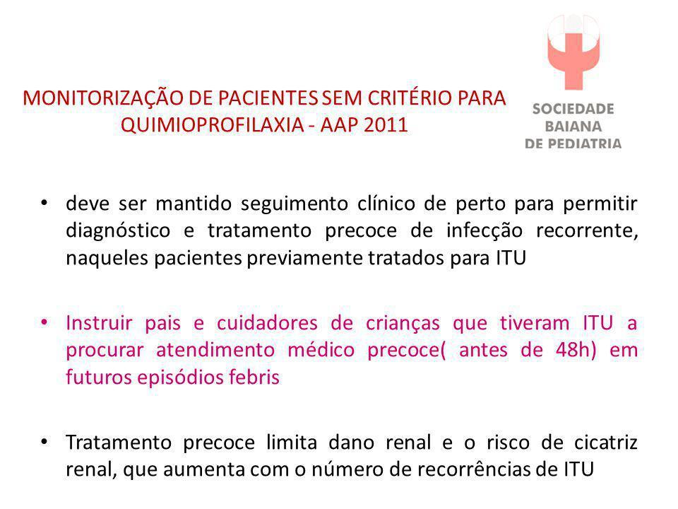 MONITORIZAÇÃO DE PACIENTES SEM CRITÉRIO PARA QUIMIOPROFILAXIA - AAP 2011 • deve ser mantido seguimento clínico de perto para permitir diagnóstico e tr